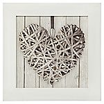 Framed Wicker Heart Canvas Wall Art 30x30cm
