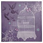 Purple Birdcage Canvas Wall Art 48x48cm
