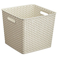 Curver My Style White Rattan Effect Storage Tray 25L