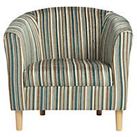 Tub Chair in Teal Stripe