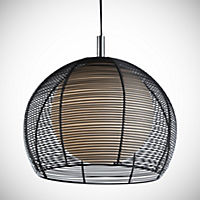 Large Black Wire Cage with White Ball Shade