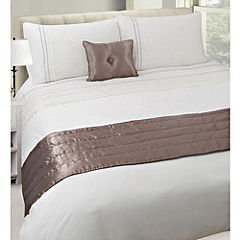 Tu Neutral Embroidered Spot Bed in a Bag - includes Duvet Cover Pillowcase Cushion and Runner