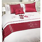 Tu Red and Neutral Floral Bed in a Bag - includes Duvet Cover, Pillowcase, Cushion and Runner