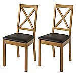 Mix and Match Oak Criss Cross Back Pair of Dining Chairs