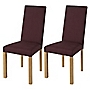 Mix and Match Oak Pair of Linen Dining Chairs