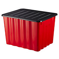 Strata Red Crate with Lid Red 75L