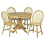 New Jersey  Round Table and 4 Windsor Chairs Natural Finish
