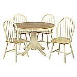 New Jersey  Round Table and 4 Windsor Chairs Natural and Ivory Finish