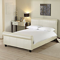 Hailey Cream Faux Leather Bedstead