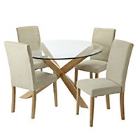 Hampton Oak Glass Top Dining Set