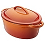 Cook's Collection Orange  4.7L Oval Cast Iron Casserole Dish