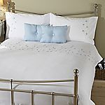 Tu Blue Floral Embroidered Bed in a Bag - includes Duvet Cover, Pillowcase and Two Cushions