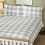 Tu Grey Printed Gingham Bed Linen Set