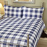 Tu Blue Printed Gingham Bed Linen Set