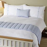 Tu Blue Ticking Stripe Bed in a Bag - includes Duvet Cover, Pillowcase, Cushion Cover and Runner