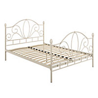 Versailles White Metal Double Bedstead