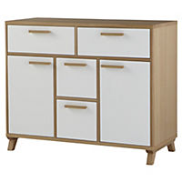Contemporary Oak and White Sideboard