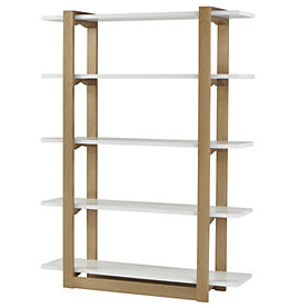 contemporary oak and white shelving unit