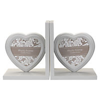 Grey Heart Photo Bookends