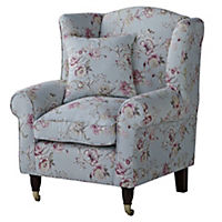 Floral Duck Egg Wing Chair