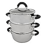 Sainsbury's 18cm Stainless Steel 3-tier Steamer with Lid
