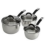 Sainsbury's Stainless Steel 3-piece Saucepan Set