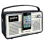 View Retro DAB Wi-Fi Radio with iPhone Dock Black & Cream