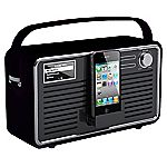 View Retro DAB Wi-Fi Radio with iPhone Dock Black & Grey