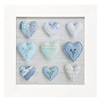 Photographic Blue Hearts Wall Art 30x30cm