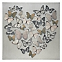 Natural Butterfly Heart Wall Art 60x60cm