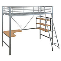Silver Metal High Sleeper and Workstation