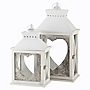 Tu White-wash Heart Lanterns, Set of 2
