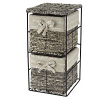 Sainsbury's Grey Lined Woven Corn 2-drawer Storage Unit