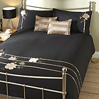 Sainsbury's Black Floral Appliqué Bed in a Bag - includes Duvet Cover, Pillowcases and Cushion Covers