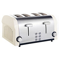 Kitchen Collection Stainless Steel and Cream 4-slice Toaster