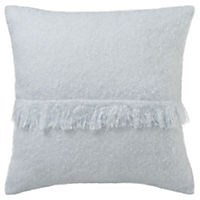 by Sainsbury's Soft Blue Faux Mohair Fringe Cushion