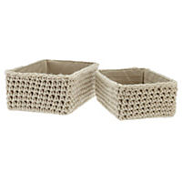 Knitted Cream Storage Boxes, Set of 2