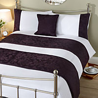 Tu Sainsbury's Purple Jacquard Bed in a Bag - includes Duvet Cover, Pillowcases, Cushion Cover and Runner