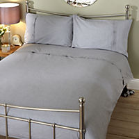 Tu Grey Chambray Button Cuff Bed Linen Set