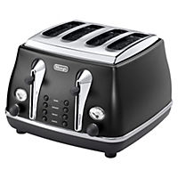 DeLonghi Vintage Black Icona 4-slice Toaster