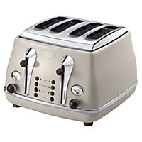 DeLonghi Vintage Cream Icona 4-slice Toaster