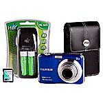 Fujifilm FinePix AX650 16 Megapixel 5x Zoom Blue Camera with 4GB SD Card and Case