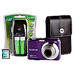 Fujifilm FinePix AX650 16 Megapixel 5x Zoom Purple Camera with 4GB SD Card and Case