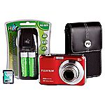 Fujifilm FinePix AX650 16 Megapixel 5x Zoom Red Camera with 4GB SD Card and Case