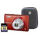 Olympus VG-180 16 Megapixel 5x Zoom Red Camera with 4GB SD Card and Hard Case