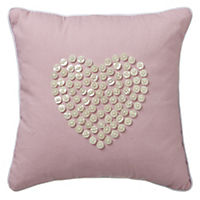 Pink Heart Button Cushion