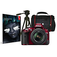 Nikon D5200 Red SLR Camera with Kit including 18-55mm VR Lens, Case, Tripod & Adobe Lightroom