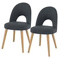 Copenhagen Upholstered Pair of Dining Chairs, Charcoal