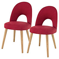 Copenhagen Upholstered Pair of Dining Chairs, Red
