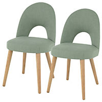 Copenhagen Upholstered Pair of Dining Chairs, Stone